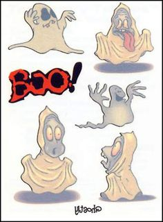 Ghostly Temporary Tattoo Sheet. Great for Kids.