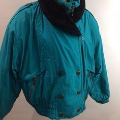 1d5e1cf6343ed Edelweiss Womens Ski Jacket Aqua Blue Winter Sports Warm Zip NO SIZE TAG   Edelweiss Retro