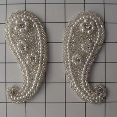 Pearl Beaded Paisley Appliques Bridal Trims Pearl by allysonjames