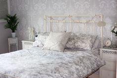 My Vintage bedroom grey damask laura Ashley Josette
