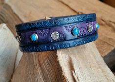 Unique Leather Cuff Bracelet-Crystal Color by LeatherVision