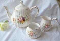 "SADLER TEAPOT SET ""Windsor""  Pink Roses on White Swirled Background Vintage Sadler Teapot Classic Fine Porcelain by TheSmashingTeacup on Etsy"