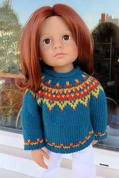 Ravelry: Icelandic Sweater for Julie Doll Patterns, Knitting Patterns, Knitting Ideas, Icelandic Sweaters, Homemade Dolls, Gotz Dolls, All American Girl, Knitted Dolls, Knit Or Crochet