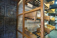 Zervas Bakery Grevena #interior #design #EpilisisStudio #tiles #weheart #store #bakery #interiordesign #wallshelves