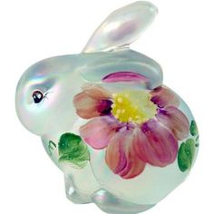 Fenton Tall Bunny Figurine, French Opalescent Glass Color with Handpainted Accents. Glass Figurines, Collectible Figurines, Fenton Glassware, Bunny Art, Christmas Figurines, Glass Animals, Glass Collection, Colored Glass, Stained Glass