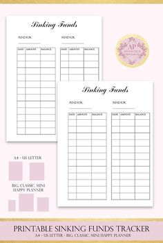 #Sinking #Funds #Tracker #SinkingFunds List #savings Log Dave | Etsy #planner #planneraddict #plannerinserts #plannerpages #happyplanner Planner Inserts, Planner Pages, Printable Planner, Free Printable, Home Management Binder, Money Management, Planner Supplies, Planner Ideas, Tracker Free