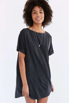 Silence + Noise Cupro Boat-Neck T-Shirt Dress - Urban Outfitters