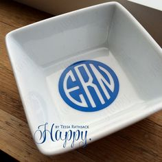 Simple Ring Dish for Jewelry Minimalist Monogram by HappyTessa