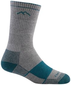 Darn Tough Merino Wool Coolmax Boot Full Cushion Sock - Women's Gray/Teal Medium. Coolmax socks move moisture away from your skin for quicker drying with added comfort. Added cushioning on the foot makes this sock the gold standard for comfort and performance. 41% Coolmax, 30% Nylon, 26% Acrylic, 6% Polyester, 4% Lycra Spandex. Men's Sizing Guide: Small (5.5-7.5), Medium (8-9.5), Large (10-12), X-Large (12.5+). Women's Sizing Guide: Small (4.5-7), Medium (7.5-9.5), Large (10-11.5).