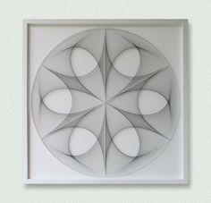 Wall Art Zen Large White & Black Custom String by FeniksArtDeco