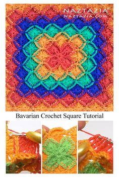 Crochet Mandala Pattern, Crochet Blocks, Granny Square Crochet Pattern, Afghan Crochet Patterns, Crochet Granny, Crochet Stitches, Diy Crochet, Crochet Squares Afghan, Crochet Afghans