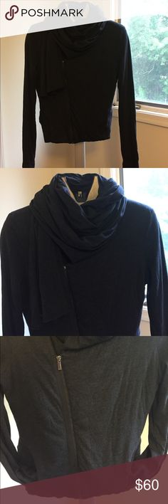 NWOT BCBGMAXAZRIA Outerwear In flawless new without tag condition! Very versatile, can be worn closed or open, as a scarf or hood, etc. slightly cropped on the sides. Color is dark navy blue. BCBG Tops Sweatshirts & Hoodies