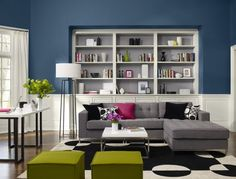 darker blue half wall gray sofa black and white rug a little bit of