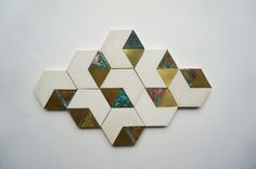 brass inlaid plaster - cutting board  geometric pattern
