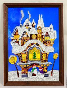 Купить Витражная картина Зимний дом - тёмно-синий, Витраж, Витражная роспись, витражная картина