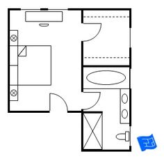 Master bedroom floor plan with the entrance straight into the bedroom.  A door leads to the walk-in closet and a further door from the bedroom leads to the bathroom.  Click onto site for more analysis.