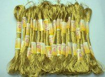 New ThreadsRus 24 GOLD Skeins of High Quality 100% Cotton Metallic Thread for Hand Embroidery - THREADSRUS BRAND
