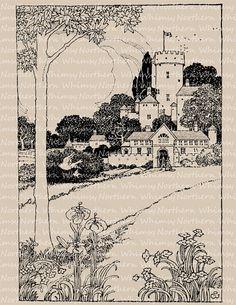 Fairytale Castle Illustration - Vintage Fantasy Clip Art – Printable Transfer Graphic – Digital Stamp - instant download clipart - CU OK
