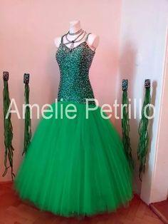 vna024 Groene ballroomjurk   AMELIE PETRILLO Ballroom   DeJo`s Danceworld