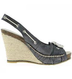 Sandales femme compensées noires Mali - Bamako talon de 9.5cm / Noir