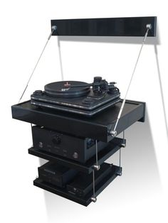 KANSO Audio Rack Stand HiFi Furniture : Tana Turntable Shelf Note: Home hub Sure, home is where in actuality the heart is. Hifi Stand, Audio Stand, Rustic Log Furniture, Metal Furniture, Cd Player, Record Player, Mc Intosh, Speaker Wall Mounts, Room Acoustics