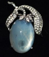 Vintage Jomaz Pale Blue Moonglow Cabochon Glass Pin with White Rhinestones