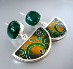 Green Onyx and Cloisonne Enamel  Silver Earrings by agoraart