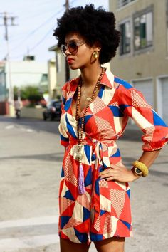70s afro sheek...I actually found this dress at a thrift store this past summer! Can't wait to wear it! :-)