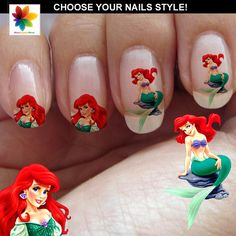 Ariel disney princess, Disney nail art, cartoon, childrens nail art, 120 Waterslide stickers Decal Nail, crystal clear background,