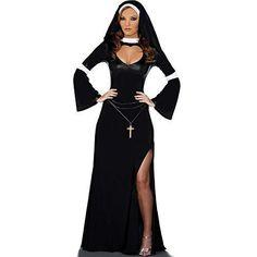 Damen - Bodenlanges sexy Nonnen Kostüm