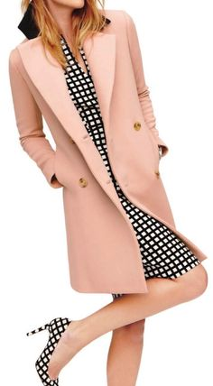 Pink coat with black and white dress and matching shoes. So feminine and stylish!