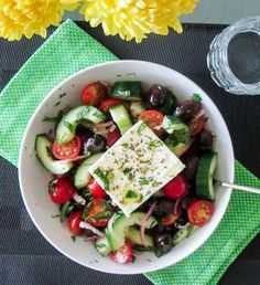 Authentic Greek Salad - A bright, fresh salad straight from my days spent on the beautiful island of Crete. Satisfies those summer cravings | http://jenniferfeasts.com