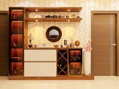 Room Design Bedroom, Kitchen Room Design, Home Room Design, Dining Room Design, Interior Design Kitchen, Crockery Cabinet, Crockery Units, Wall Showcase Design, Home Bar Cabinet