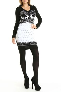 White Mark Reindeer Hooded Sweater Dress In Black And White - Beyond the Rack