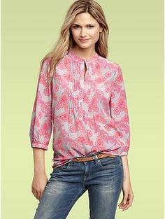 Paisley pintucked blouse