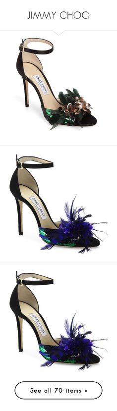 """""""JIMMY CHOO"""" by mari-sv ❤ liked on Polyvore featuring shoes, sandals, heels, black satin, black satin sandals, black sandals, black heeled sandals, heeled sandals, feather sandals and обувь"""
