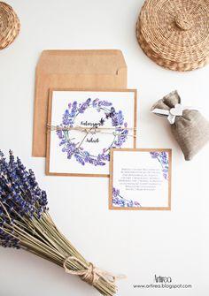 Lawendowe zaproszenia ślubne rustykalne fioletowe artirea Purple Party, Big Day, Place Cards, Wedding Invitations, Place Card Holders, Diy, Inspiration, Weddings, Table