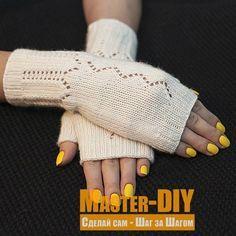 Связать спицами нежные Митенки с ажурным узором. Описание вязания митенок (варежек) для женщин.