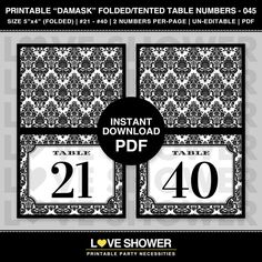 21  40 Printable DAMASK Folded or Tented Table by LoveShower Damask Wedding, Table Numbers, Party Printables, Handmade Gifts, Cards, Etsy, Kid Craft Gifts, Wedding Table Numbers, Craft Gifts