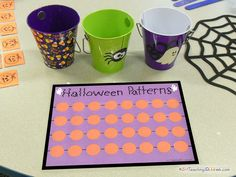 Halloween Math Patterns - download has 4 pages, includes,  directions, pattern mat, pattern cards, & adorable pattern pieces.  Dollar downloads & freebies too!