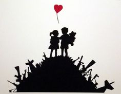 """Banksy image, framed and mounted print: 18 x 14 inches framed price This is """"Children of the War"""" from the Waldock Gallery in Dublin. Banksy Images, Banksy Prints, Art Forms, Dublin, Gallery, War, Children, Room, Young Children"""