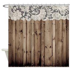 shabby chic lace barn wood Shower Curtain on CafePress.com