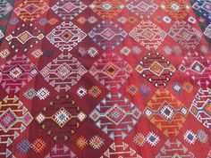 "Natural Wool Turkish Blackgoats Cicim Kilim Rug 62"" x 97"". $448.00, via Etsy."