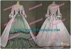 Renaissance Gothic Lolita Reenactment Ball Gown Floral Print Cotton Dress