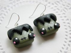 Halloween Earrings Kawaii Frankenstein Polymer FIMO Clay Earrings for Tweens Teens and Adults on Etsy, $7.50 AUD