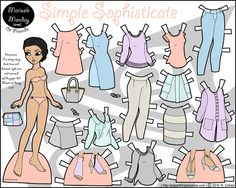 Printable paper doll with a contemporary wardrobe in pastels...