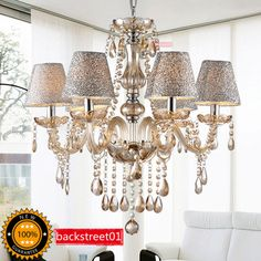 Modern K9 Crystal Chandelier Ceiling Light Pendant Lamp Fixture Lighting 6LIGHTS