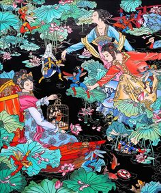 ARTIST: Jacky Tsai (China/UK) - Gallery: Contemporary by Angela Li via: ● Art Central Mar 21 – 2017 Central Harbourfront Event Space, Hong Kong, China Chinese Painting, Chinese Art, Art Central, Chinese Contemporary Art, Art Chinois, Art Asiatique, Pop Art Illustration, Illustrations, Graffiti Wallpaper