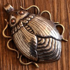 """Gorgeous Fair Trade """"Beetle/Scarab"""" Focal Bead White Metal Repousse Brass Dots Nepalese Tribal on Etsy, $79.95"""