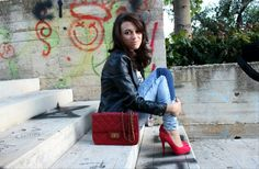 #New #post on my #fashionblog oggi #lookday #outfit with #Tacchi rossi e #borchie?it's #rock wp.me/p3vIya-1n5  TUTTE LE #FOTO SUL MIO #BLOG